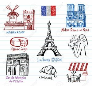 Symbols of France as funky doodles
